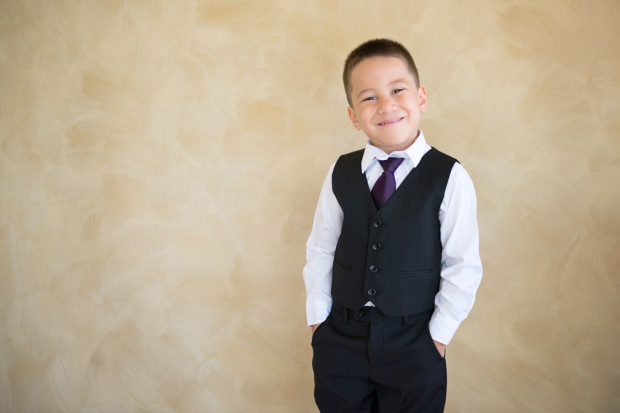 Portrait of a page boy on the wedding day