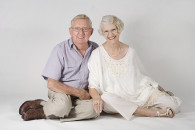 A portrait of an elderly couple.
